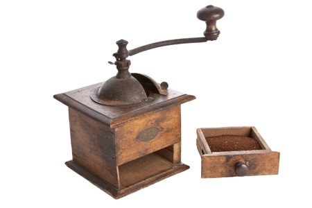 Old manual Coffee Grinder machine wooden made  with coffee on the drawer -2
