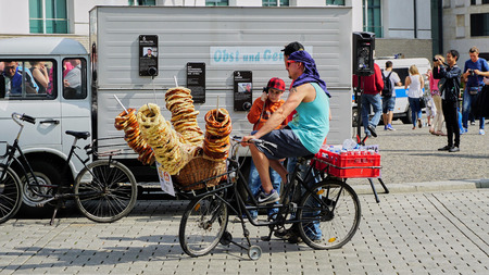 Mobile Pretzel Vendor on modified bicycle in Berlin Germany Editorial