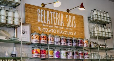 London, England - Aug 2016: Retro milk bottles adorn Gelato Shop in Borough Market Editorial