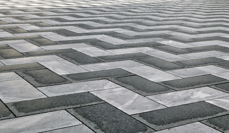 Black and White Paving Stones in Zig Zag Geometric Patter