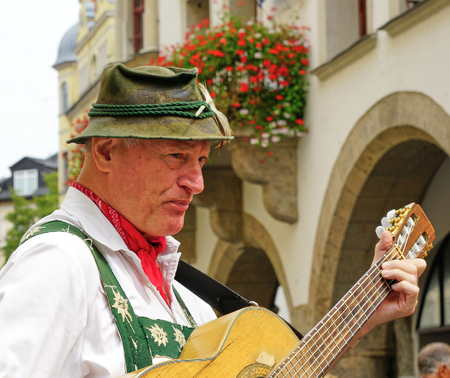 Bavarian Street Performer dressed in Traditional Clothing - Close up