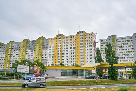 Bratislava, Slovakia - Aug 2018: Cold War Era Apartments on Outskirts of Bratislava