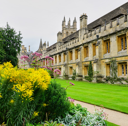Manicured lawns & gardens at Magdalen College - Oxford, England - Aug 2017