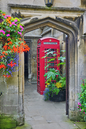 Picturesque Doorway with British Phone Booth - Magdalen College, Oxford England - Aug 2017