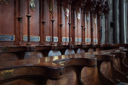 Craftsmanship of Carved Wooded Cathedral Choir Stalls - Salisbury, England - Aug 2017
