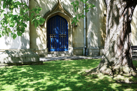 Lovely door and grounds of Church in Windsor, England - Aug 2017