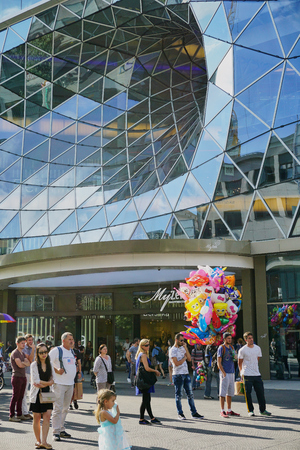 Glass Vortex Architecture of Shopping Mall Facade - Frankfurt - Aug 2016