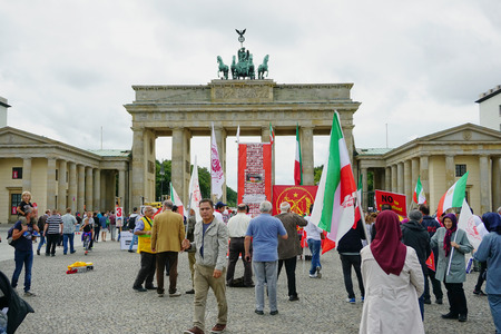 Iranian Protesters at Brandenburg Gate in Berlin, Germany - Aug 2016