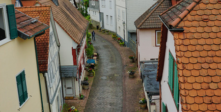 View looking down on medieval street in Bad Homburg, Germany - Aug 2016 Editorial