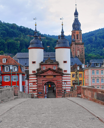 Empty street scene of the famous Karl Theodor Bridge and Twin Towers in Heidelberg