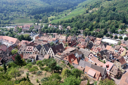 Elevated view of Medieval Village in Alsace Region of France - Aug 2015 Banco de Imagens