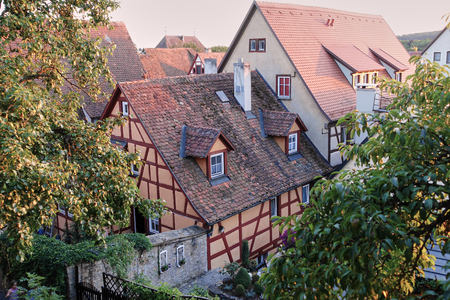 Two Red Tiled Medieval Roof Tops from high angle in Romantic Road destination village.