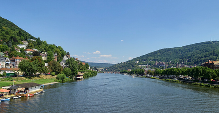 Wide angle, elevated view of the Neckar River, Germany