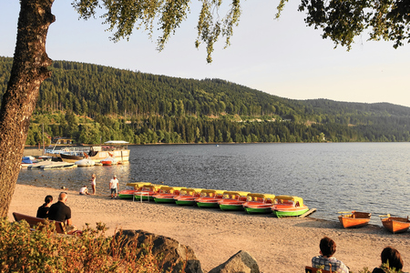 Beach scene on Lake Titisee in the Black Forest in Germany - Aug 2015 Editorial