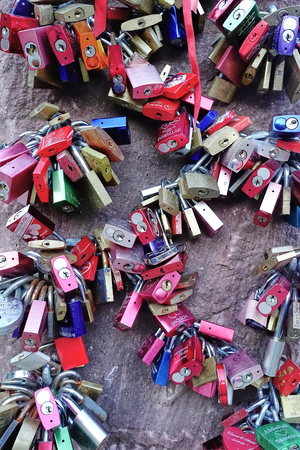 Heidelberg, Germany - Aug 2015: Close up of Eternal Love Locks attached to the Love Stone