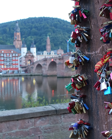 Eternal Love Locks close up with Heidelberg, Germany in background, blurred