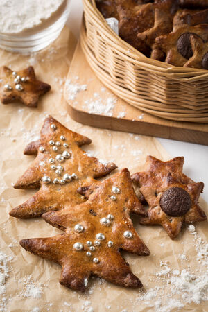 freshly baked christmas ginger cookies. Vertical image. photo