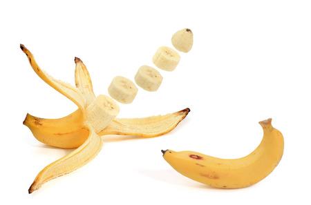 peeled banana:  peeled banana isolated on a white background