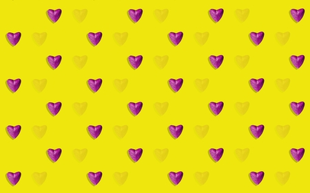 Brightly colored background with layered hearts interacting with each other