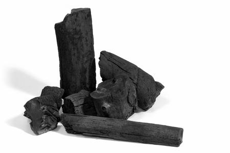 Black charcoal on white background Stock Photo