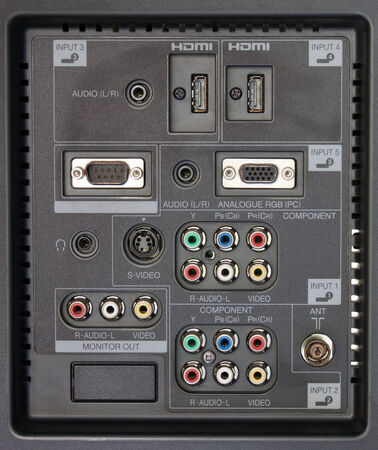 connection panel of tv player photo