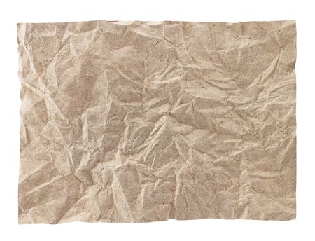 creasy: brown crumpled paper on white