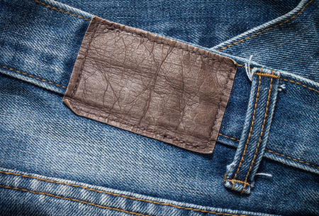 close up of a jeans label Stock Photo