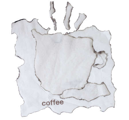 burnt paper: burnt paper isolated and  coffee text on a white background Stock Photo