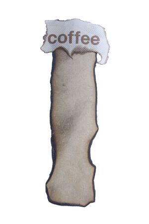 burnt paper: burnt paper isolated and coffee text on a white background