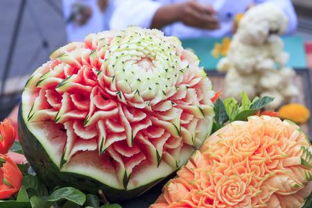 papaya flower: Papaya, watermelon carving