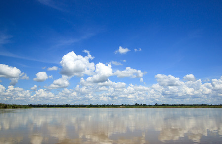 clouds sky: Beautiful tropical river under the blue sky.