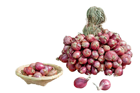 three objects: Shallots isolate no background