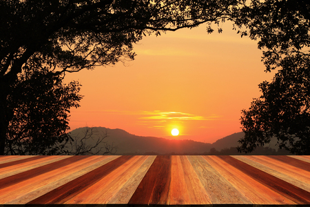granja: puesta del sol y el suelo de madera