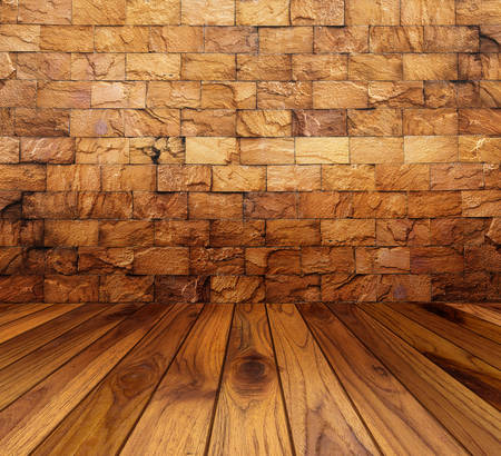 white wood floor: room interior with white brick wall and wood floor background