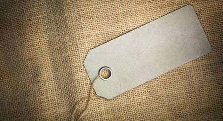 sackcloth: Blank tag  on sackcloth texture