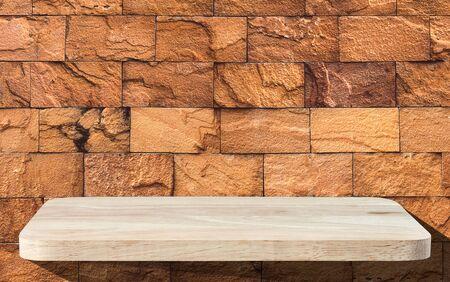 the shelf: Wooden Shelf on Brick Wall background Stock Photo