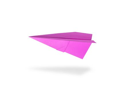 Pink paper rocket on white background
