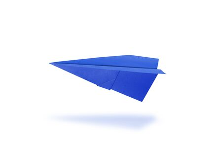Blue paper rocket on white background Imagens