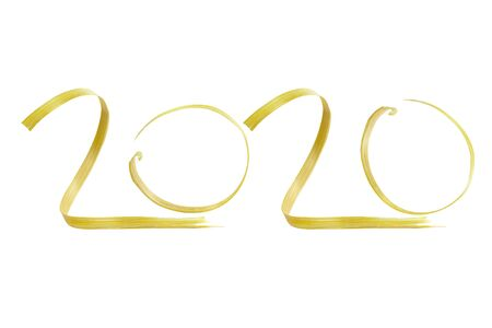 Happy New Year 2020. Number 2020 made of wood bamboo