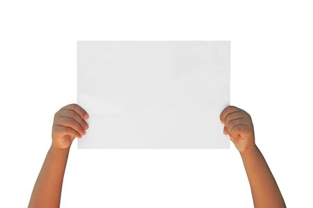 A hand holding a sheet of paper