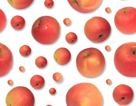 Apple pattern on a white background. Repetition concept. Top view. Flat lay