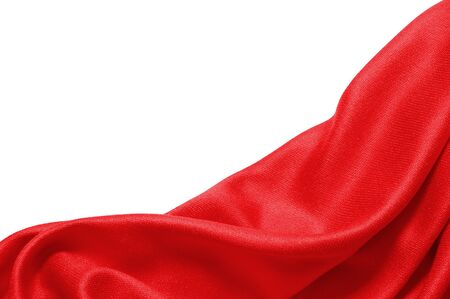 Red silk texture cloth on white background