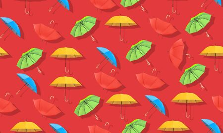 Multi-colored umbrellas pattern on red background.