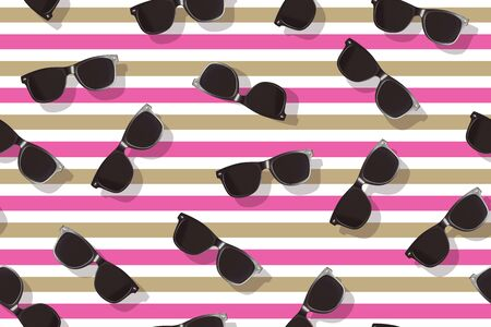 Black sunglasses pattern on pink and brown background.