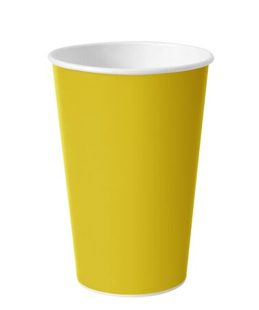 yellow  paper cup isolated on white background