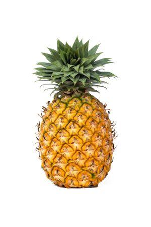 single whole pineapple isolated on white background.