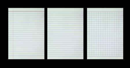 Collection of sheets from notebooks on black background