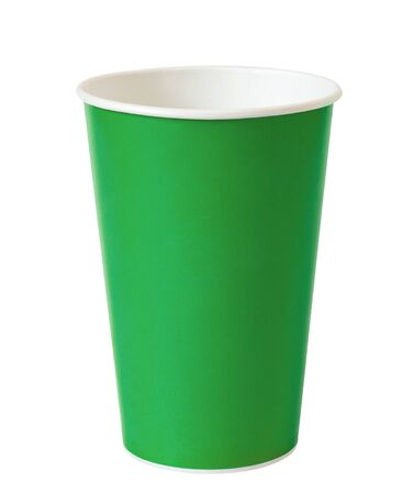 green paper cup isolated on white  Stock fotó