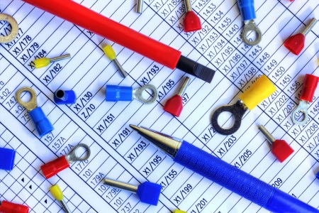 tec: Many electrical components on schematic diagram Stock Photo