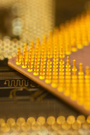 miniaturization: Inside of computer - motherboard semiconductors and electronics.